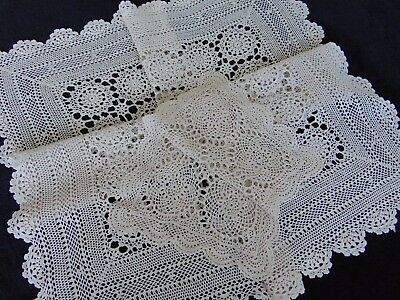 2 X Vintage Hand Crocheted Beige Finest Cotton Tablecloth & Placemat 89 X88 Cm