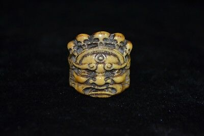 handwork Collectible Culture Style old gift b0ne carve demon dragon women Ring