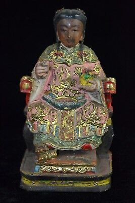 Vintage China culture Collectible wood Handwork immortal amulet big old statue