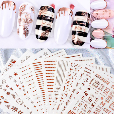 Rose Gold 3D Nail Stickers Decals Alphabet Geometry Feather Nail Art Decoration
