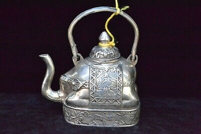 antique china handwork Collectible Old tibet silver carve elephant rare Teapot