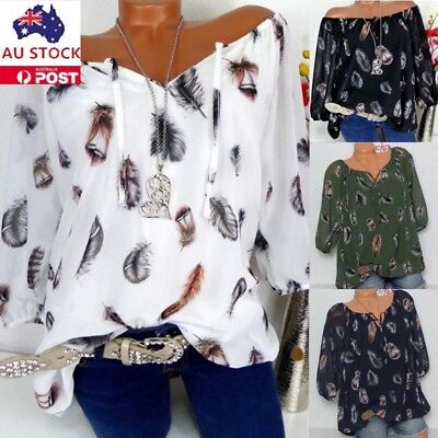 Women Floral Print V Neck 3/4 Sleeve Lace Up Blouse Top Casual Loose Shirt 6-22