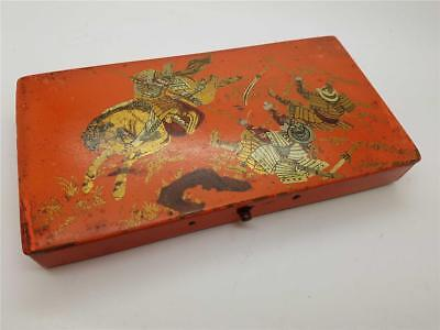 19th Century Chinese Japanese Artists Paint Box in Red Lacquer