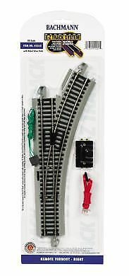 Bachmann 44562 HO Right Hand Remote Turnout w/Nickel Silver Rail & Gray Roadbed