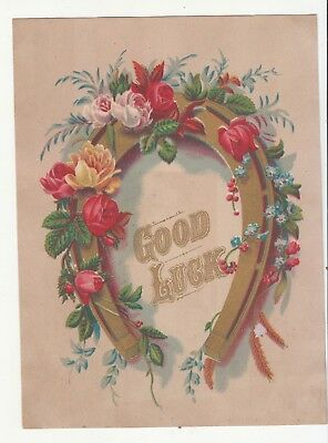 Good Luck Gold Horseshoe Flowers Roses  Vict Card c1880s