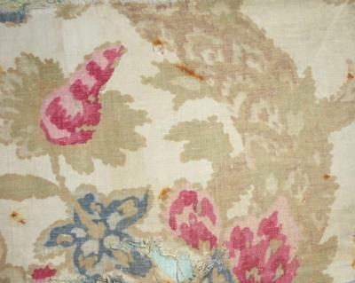 BEAUTIFUL TIMEWORN 19th CENTURY BLOCK PRINT FRENCH PURE LINEN, REF PROJECTS