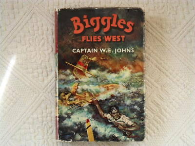 "W E JOHNS ""Biggles Flies West"" UK H/B HAMPTON 1st-UNCLIPPED-FREE UK POSTAGE"
