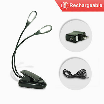 Powered Dual Arm 8LED Flexible Book Reading Stand Light Lamp w/Charger,USB