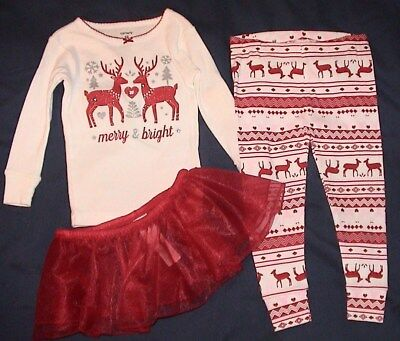 Merry & Bright-Carter's Red & White Top*leggings & Lace Skirt-Size 18 Months-Nwt
