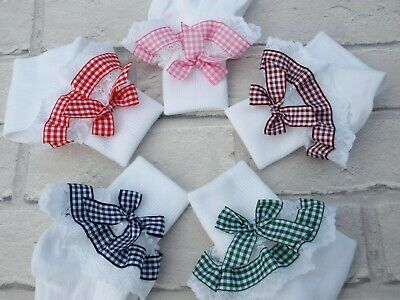 Handmade Baby Girls White Frilly Gingham Plaid School Socks - Hair Bows Clips