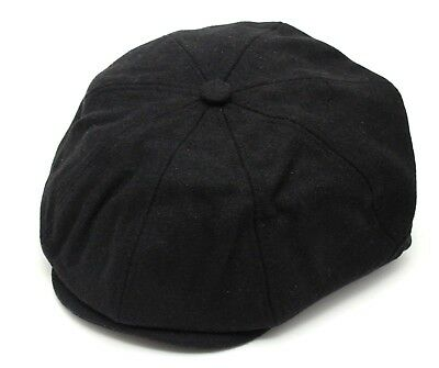 88466c24 Peaky Blinders Tommy Shelby Style Mens Newsboy Cap Plain Black Wool Cheap