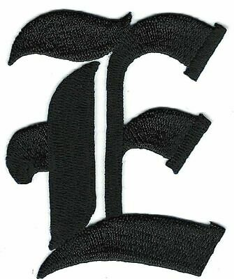 "3/"" Fancy Black Old English Alphabet Letter T Embroidered Patch"