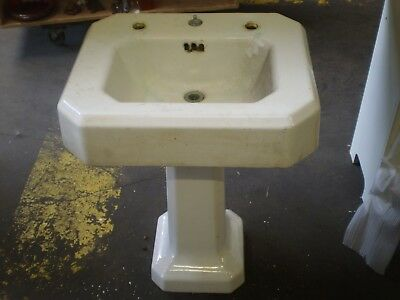 Antique Cast Iron Porcelain Pedestal Sink