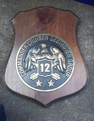 A Vintage Commander Cruiser Destroyer Group 12 Heavy Brass Wooden Shield Plaque