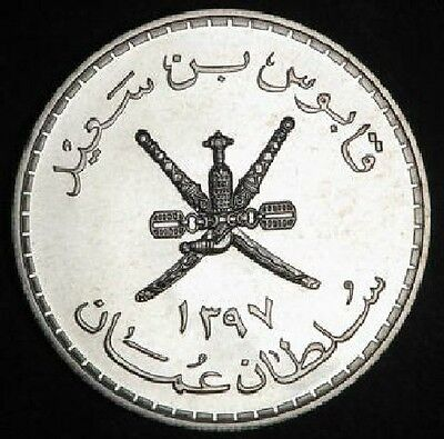 "Oman 1397H Huge Silver Five  Riyals  ""proof""  ""oryx""  #3111  Free Usa Shipping"