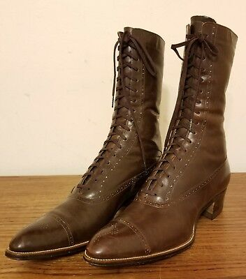 Antique 1900's Victorian Edwardian YW Women's Brown Leather High Top Shoes Boots