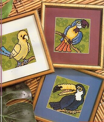 Tapestry/Needlepoint chart. Vibrant Tropical Birds. Maria Diaz. Quick & easy