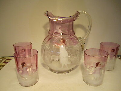 Antique 1880s Light Cranberry Over Clear Mary Gregory Bohemian Moser Water Set