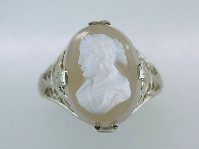 Vintage Antique Cameo 14K White Gold Art Deco Filigree Ring