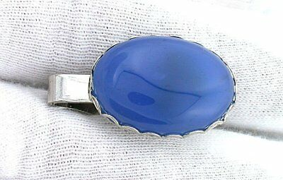 4cc4bd43de58 One - 1 1/3 Inch Oval Blue Agate Gemstone Gemstone Silver Color Tie Clip