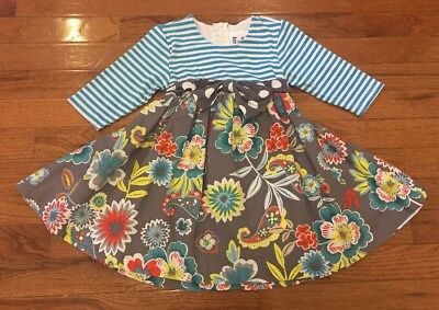 Counting Daisies Toddler Girls Boutique Gray & Blue Floral Print Dress Size 3T
