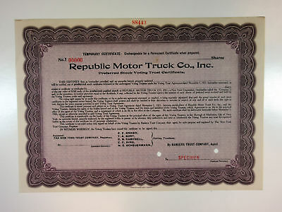 Republic Motor Truck Co. Inc, 1921 Odd Shrs Specimen Stock Certificate VF-Purple