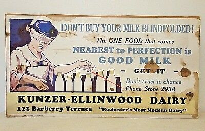 1920s Original DAIRY MILK ADVERTISING Poster Kanzer-Ellinwood Rochester NY 11x21