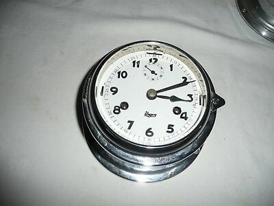Urgos Ships Bell, Bulkhead Clock in Chrome Case, Made in Germany. Excellent
