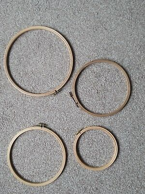 Collection Of Wooden Circular Tapestry Ring X 4