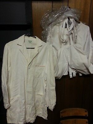 Antique Early 20th Century Insane Asylum Straight Jacket and Doctor's Lab Jacket