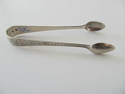 Sterling Silver  Fully Hallmarked Crown Pattern Etched  Silver Sugar Tongs 4.5""
