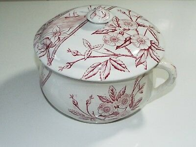 red transfer ware pottery handled pot with lid sailboat butterflies flowers
