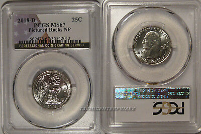2018 D Pictured Rocks NP Quarter 25c PCGS MS67 USA Flag