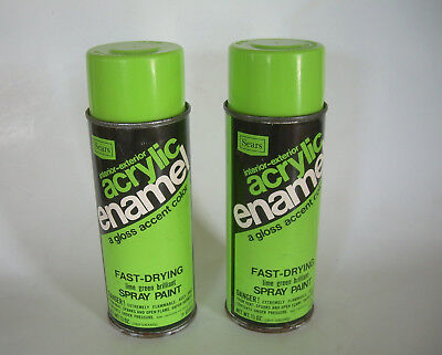 Two (2) Cans Sears LIME GREEN BRILLIANT Spray Paint Vintage Store Brand