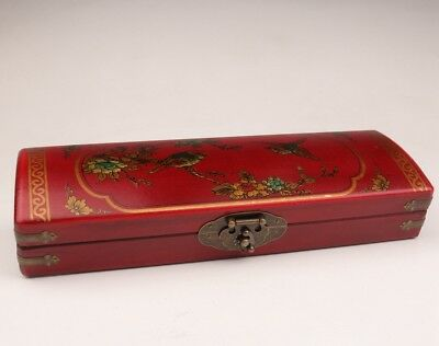 Chinese red leather jewelry boxes decorated old flower bird dowry necklaces