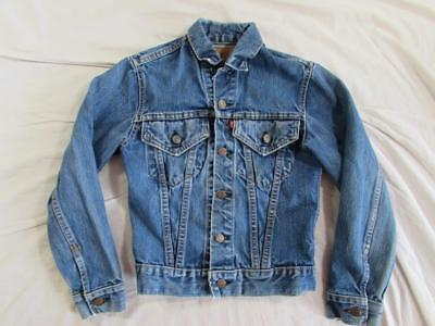 Vtg 70s Boys Levi Denim Trucker Jacket 2 Pocket USA Made Small E Faded Nice!