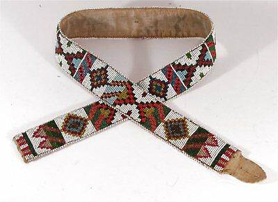 1910s NATIVE AMERICAN BLACKFEET INDIAN BEAD DECORATED BELT - 40 INCH LONG BELT