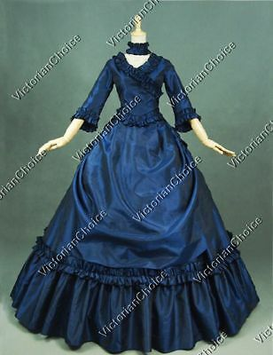Victorian 5-PC French Bustle Queen Fairytale Ball Gown Halloween Wear N 330 S