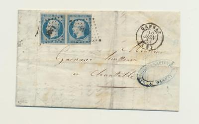 FRANCE 1853 COVER, PAIR OF 25c NAOPLEON ISSUES TIED, SCARCE ITEM. Sc#11