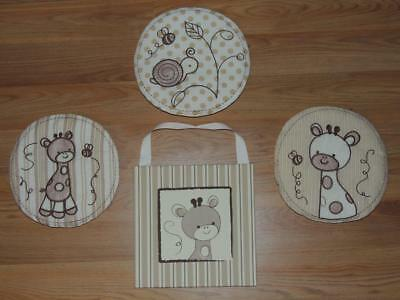 4 Cocalo Snickerdoodle 3 Soft Wall Hangings 1 Canvas Art Giraffe Snail Bee
