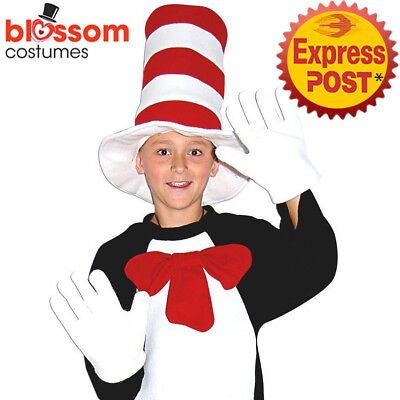 CSW29 Book Week Dr Seuss Cat in the Hat Bow Tie Gloves Costume Kit Boys Girls
