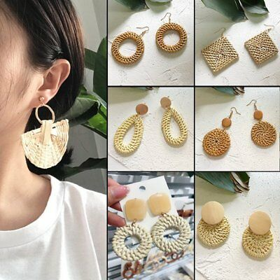 Fashion Women Round Straw Rattan Woven Earrings Ear Stud Dangle Jewelry Gifts