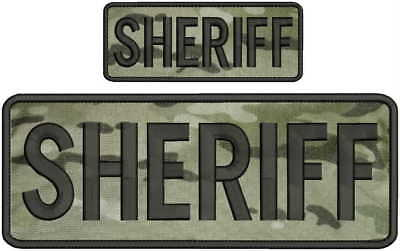 Sheriff embroidery patches 4x10 and 2x5 hook on back multi cam