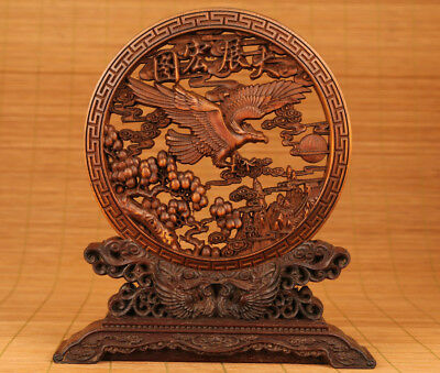 Rare Chinese Old Boxwood Handmade Carved Phoenix Statue Big Plate DECORATION