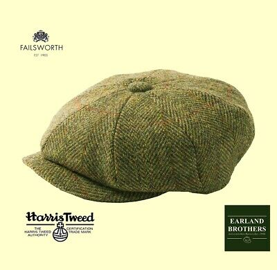 Failsworth Harris Tweed Cap Peaky Shelby Newsboy Button 8 piece Mid Brown/Green