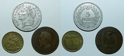 FRANCE :  3 OLD COINS 19th-20th Century