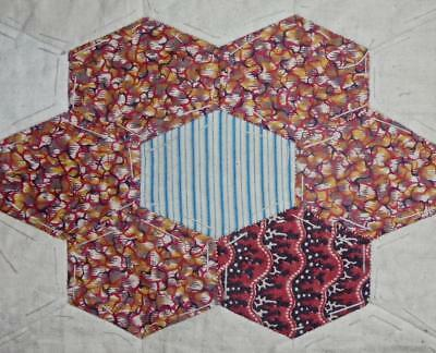 c1840s BEAUTIFUL EARLY 19th CENTURY PRINTED COTTON PATCHWORK QUILT BLOCK, REF 43