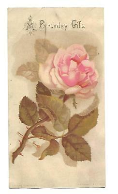 A Birthday Gift Pink Rose Thorny Stem  Vict Card  c 1880s