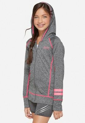NWT Justice Girls Active Zip Up Hooded Jacket Size 12 14 Athletic Wear