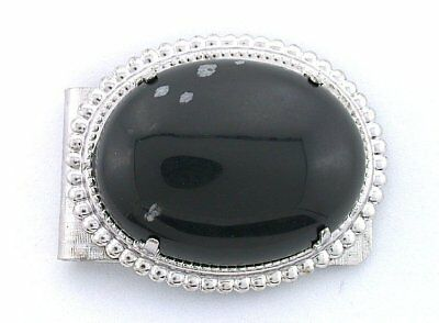 09b19ec64c65 40x30 Oval Snowflake Obsidian Cabochon Cab Gem Silver Color Money Clip PMC74